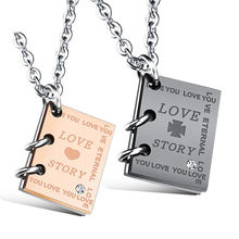 Wholesale New Design Couple Matching Stainless Steel LoveStory Book Shape Pendant Couple Necklace