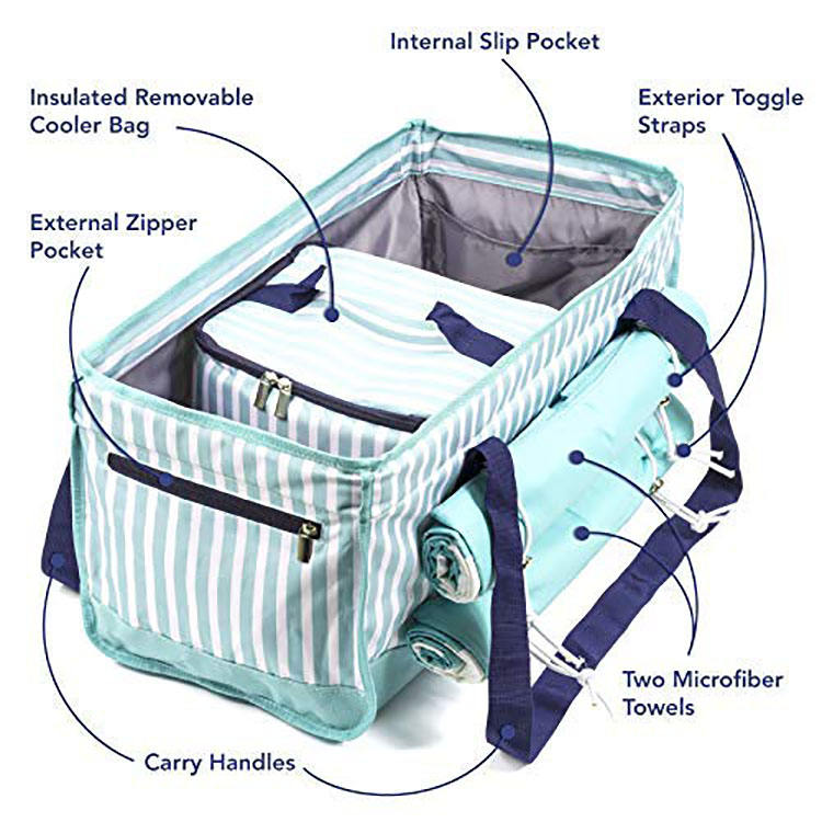 Beach Bag Tote Set with Removable Insulated Cooler and Two MicrofiberTowels - Plenty of Room to Comfortably Carry