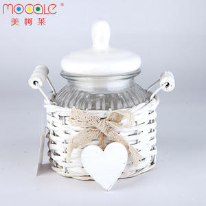 Glass Food Container Set Candy Jar For Cookie Storage With Wicker Basket And Ceramic Lid