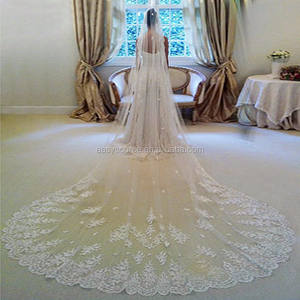 Luxury Cathedral 3.5M Wedding Veil Lace Pearls beaded bridal veil