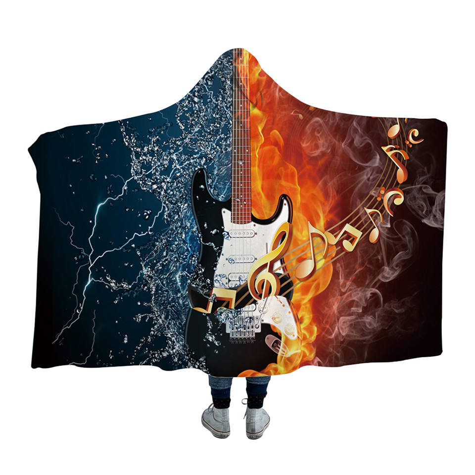 Vuur En Water Hooded Deken 3D Gitaar Sherpa Fleece Wearable Volwassenen Muziekinstrument Worp Deken