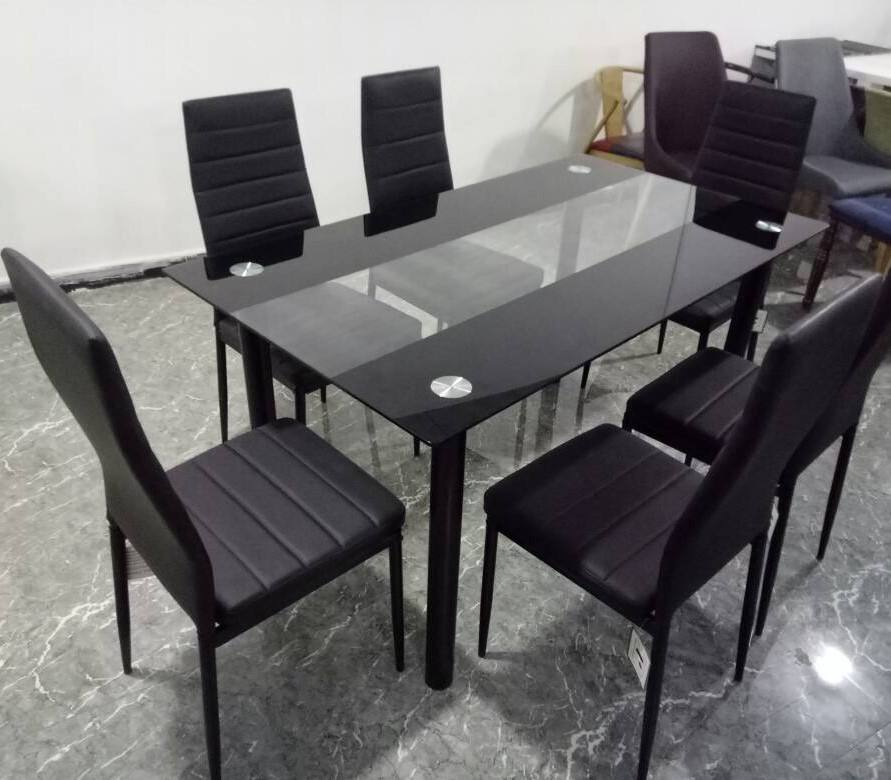 Modern dining room Furniture Glass Kitchen Dining Dinette Top 6 Person Dining Table and Chairs Set