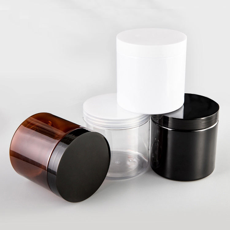 Wholesale cosmetic food packaging 100ml 150ml 200ml 250ml 300ml amber black pet plastic cosmetic cream jar with white black lid