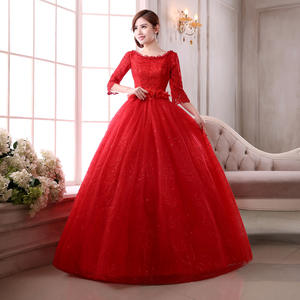 Hot Sale Elegan Setengah Lengan O-Neck Red Wedding Dresses Lace Beaded Fotografi Sexy Ball Gown Wedding Gowns