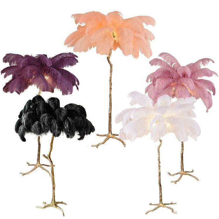 Hotel decoration designer modern palm tree stand copper ostrich feather floor lamp