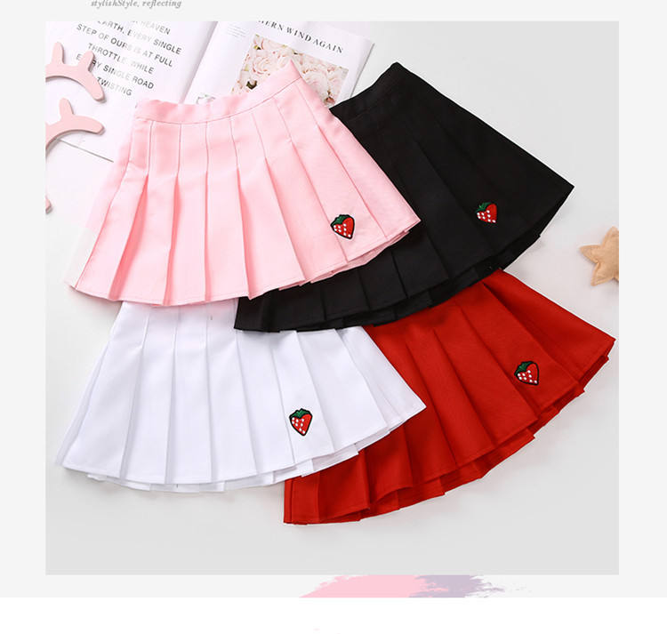 Fashion Girl Solid Pleated SkirtとEmbroidery Strawberry Teenager Girl School Pleated Skirt Student White Red Black Pink