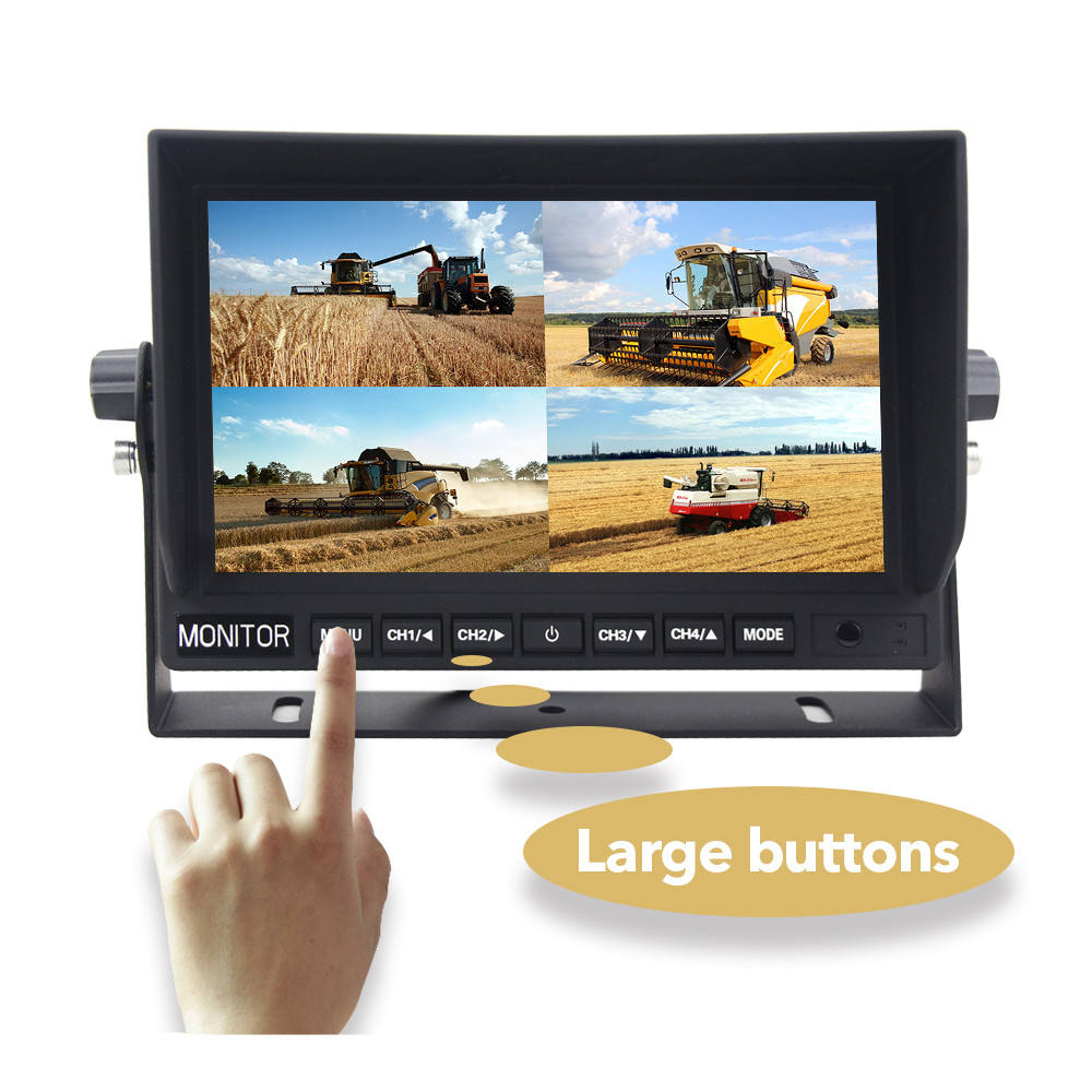 Quad 7 inch Lcd Monitor with backup cameras for Farming equipment