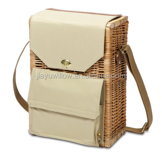 wicker picnic basket with wine bottle holder and cutting board, cheese knife