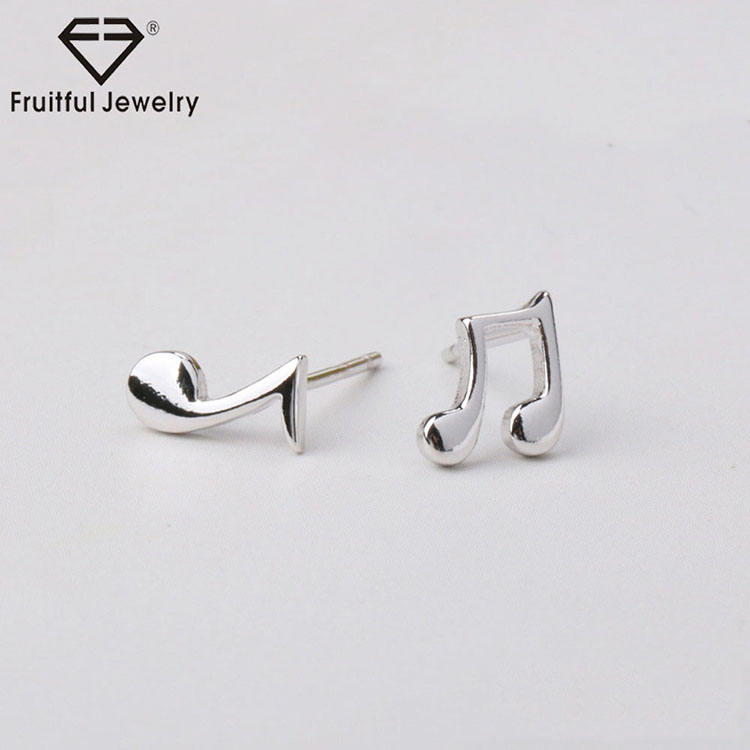Birthday present asymmetric earrings creative girls' jewelry creative music notes silver-plated alloy stud earrings