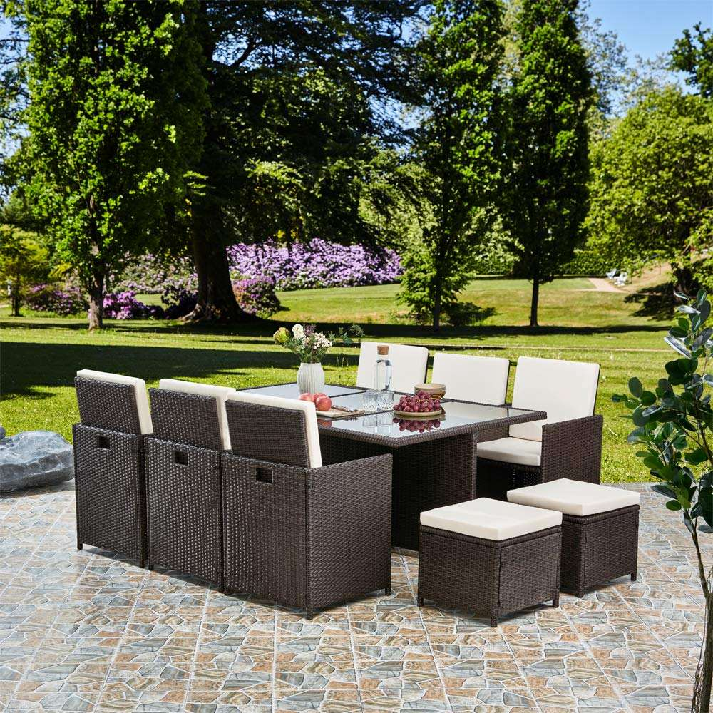 Wicker Garden Furniture Cube Set Rattan Dining Table And Chairs Outdoor Rattan Garden Furniture