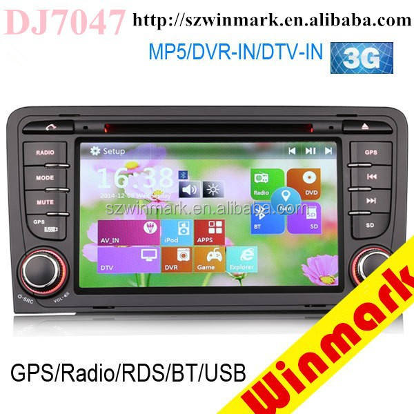 Di sistema di windows 2 din autoradio con gps per audi a3 2003-2012 <span class=keywords><strong>iPod</strong></span>/<span class=keywords><strong>iPhone</strong></span> dvr digitale tv bt radio 3g dj7047