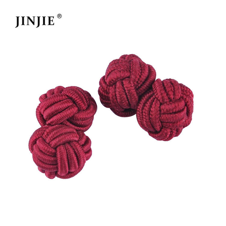Hot Sale custom red silk fabric ball knot cufflinks multicolor elastic shirts knot cufflink for mens