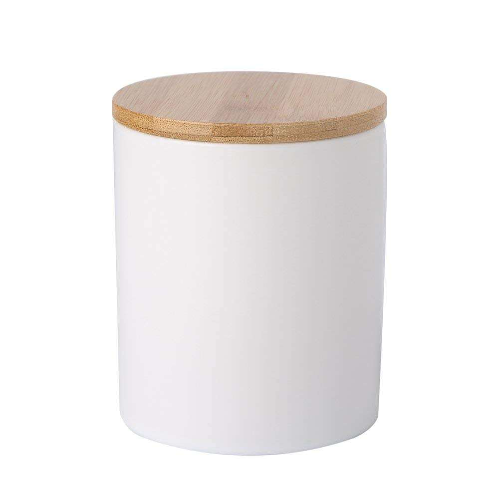 White ceramic tea canister storage candle jar with bamboo lid