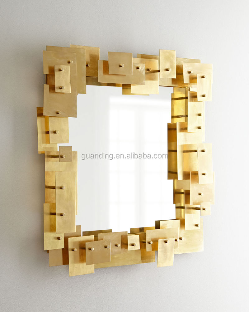 Frame made of sheets of solid brass layered in a 3-D composition decorative wall Puzzle Mirror