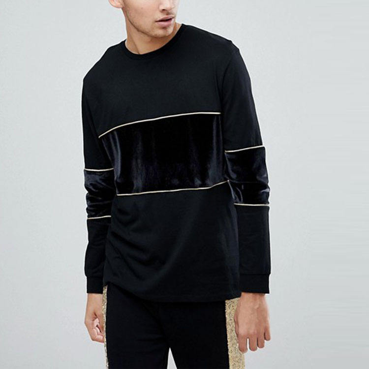 top selling products in alibaba luxury clothing men two-color long sleeve t shirts with velour panels and gold piping