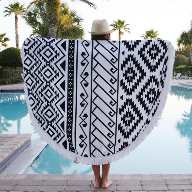 Amazon hot selling outdoor pattern round beach towel with tassels yoga towel