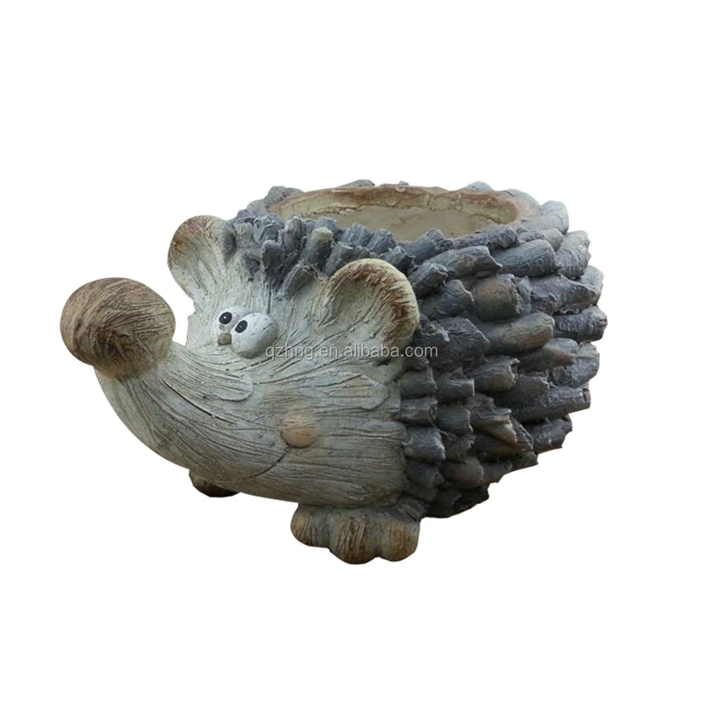 High Quality Glassfiber Concrete Hedgehog Shape Animal Flowerpots For Sale