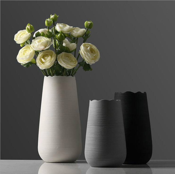 Ceramic crafts decoration, creative ceramic drawing vase, Nordic household decoration