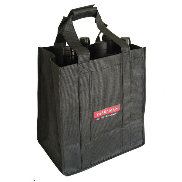 2019 promotional heavy duty non-woven 6 bottle wine tote bag