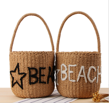 Basket style straw paper bag embroidery stars beach bag for summer