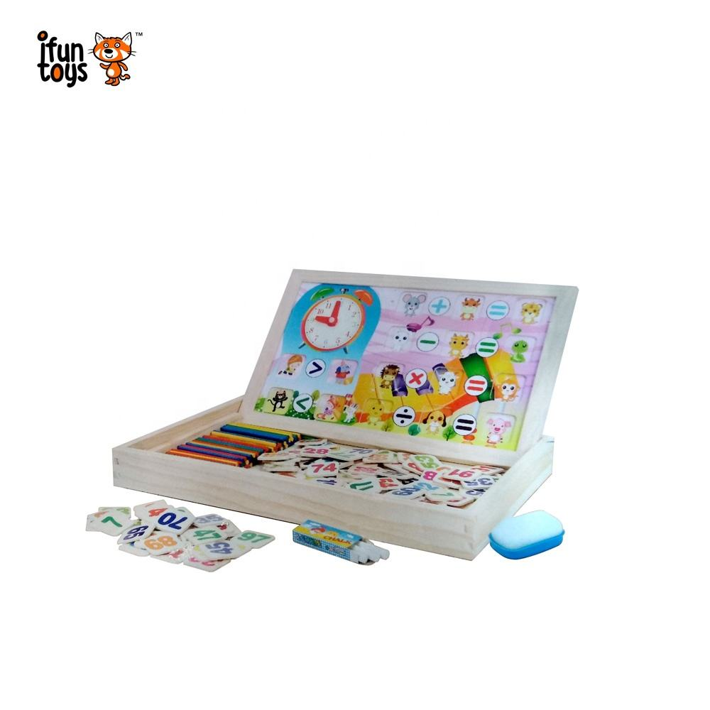 2 in 1 small-sized Dry erase drawing toys magnetic writing board drawing board wooden math board for kids
