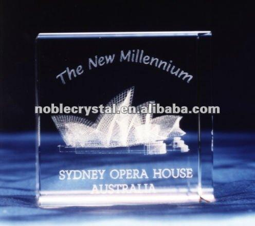 3D Laser Engraved Australia Sydney Opera House Crystal Souvenirs Crystal Gift Crystal Cube