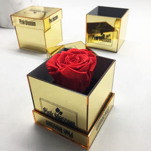 Hot Selling Golden mirror 1 rose Acrylic Flower Boxes single rose box