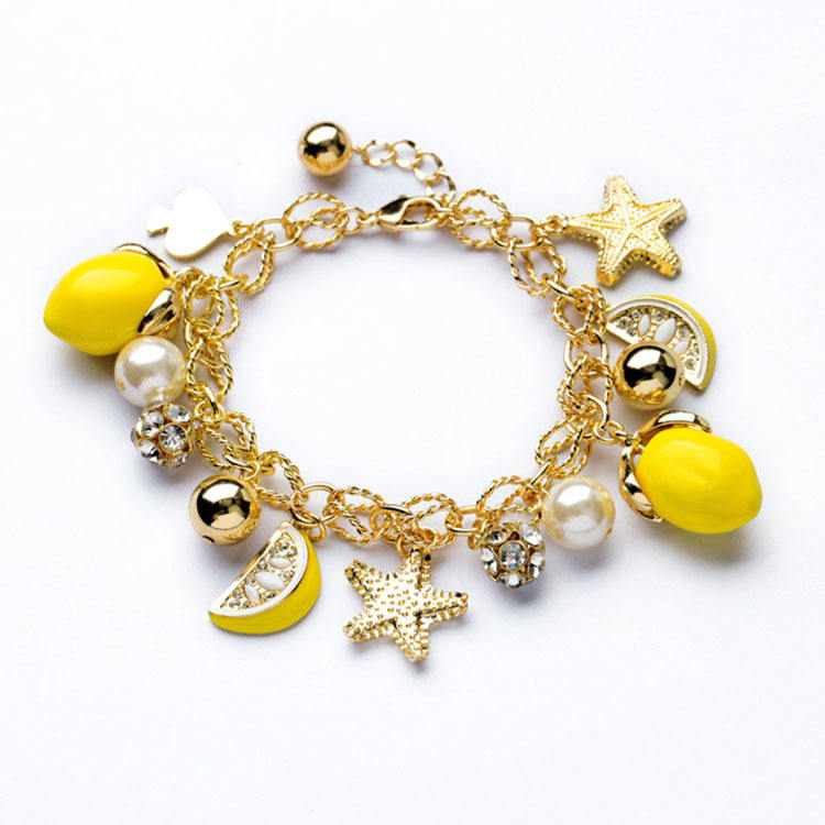 Wholesale Star starfish Bracelet summer lemon yellow fruit Bracelet for women