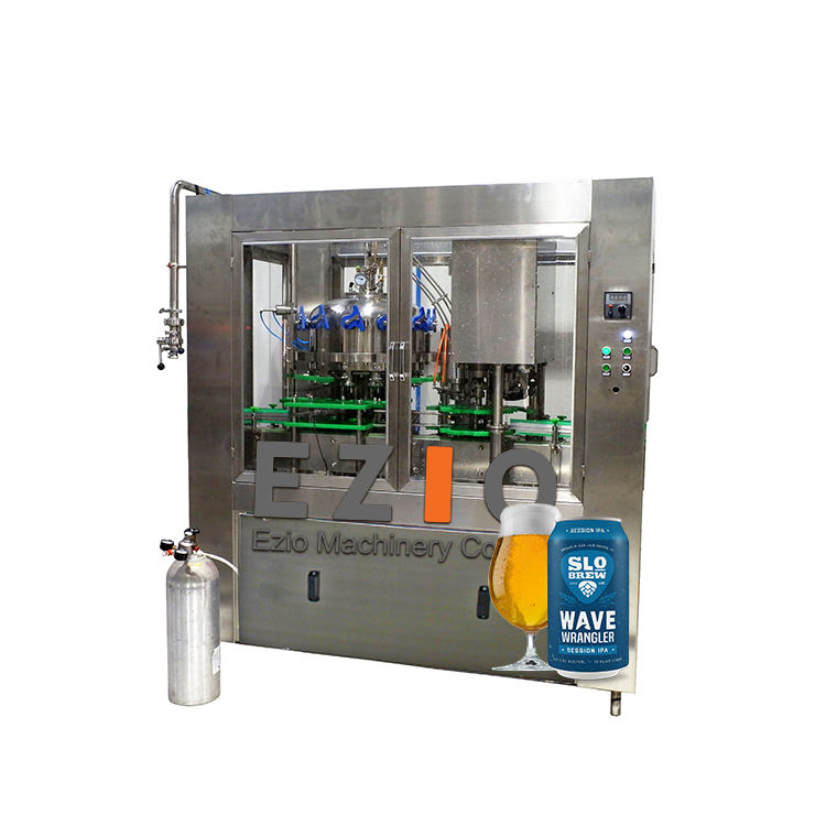 Ezio Made Low Oxygen Automatic Craft Beer Spirit Aluminum Can Filler Filling And Sealing Machine System / Canning Line Equipment