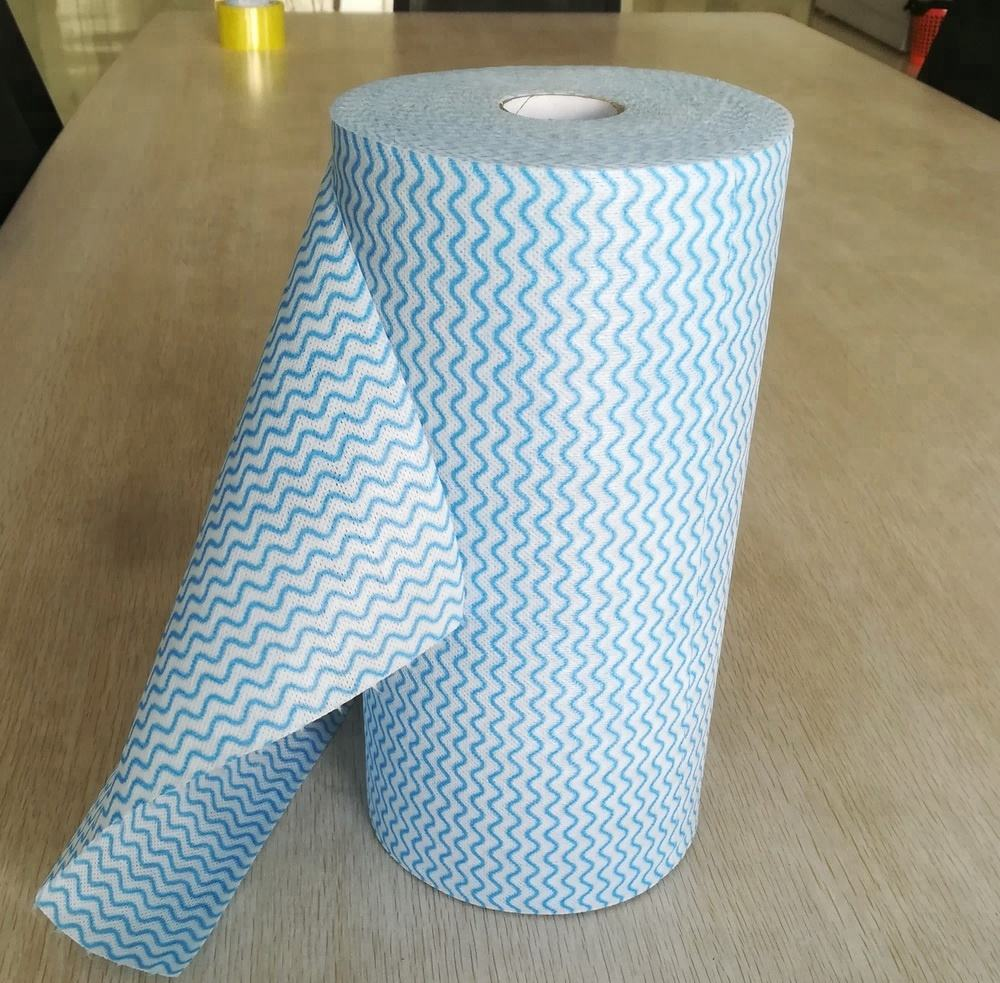 60~80g 30x50cm per piece 45m each roll super absorbent wave printed spunlace nonwoven fabric perforated roll heavy duty wipes