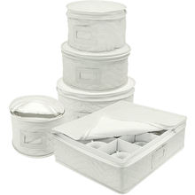 5 pcs circular plates and cups quilting seam soft dinnerware set storage box