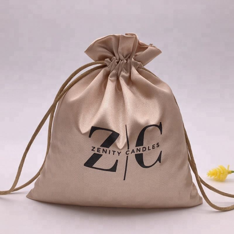 Promotional Personalized Satin Drawstring Bag For Candle