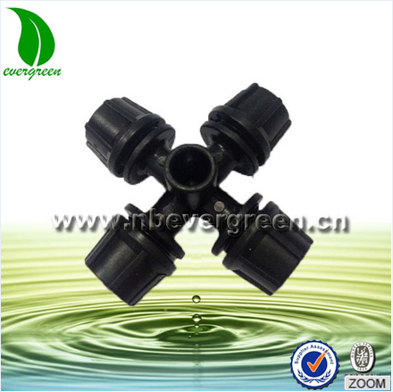 Water mist system irrigation watering low pressure 4-way mist nozzle