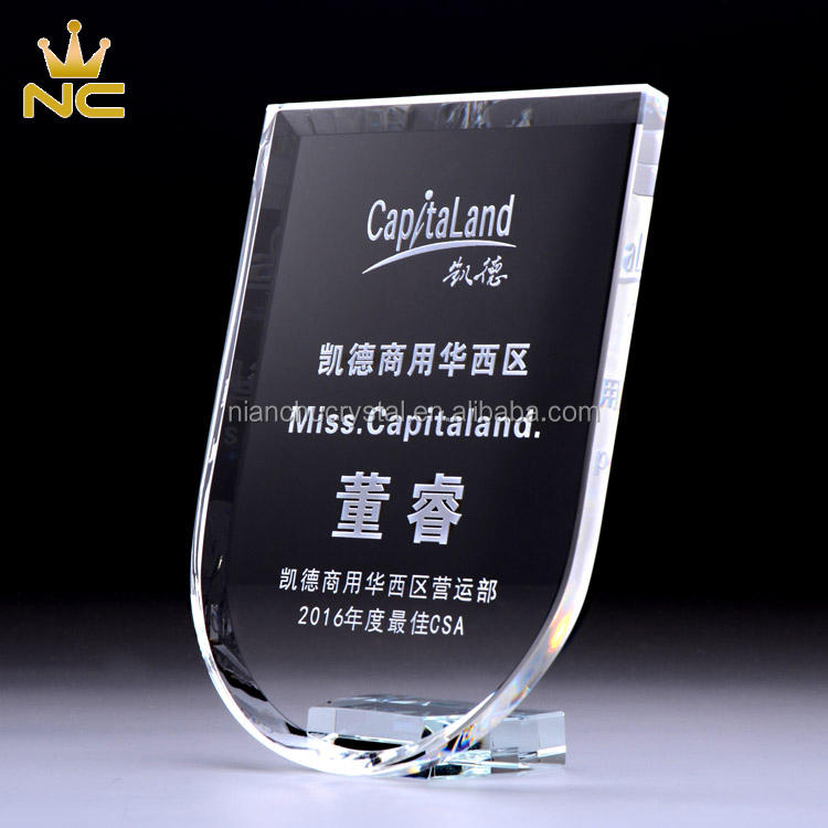 Corporate Glass Plaques Crystal Shield Award Trophy For Gifts Souvenirs