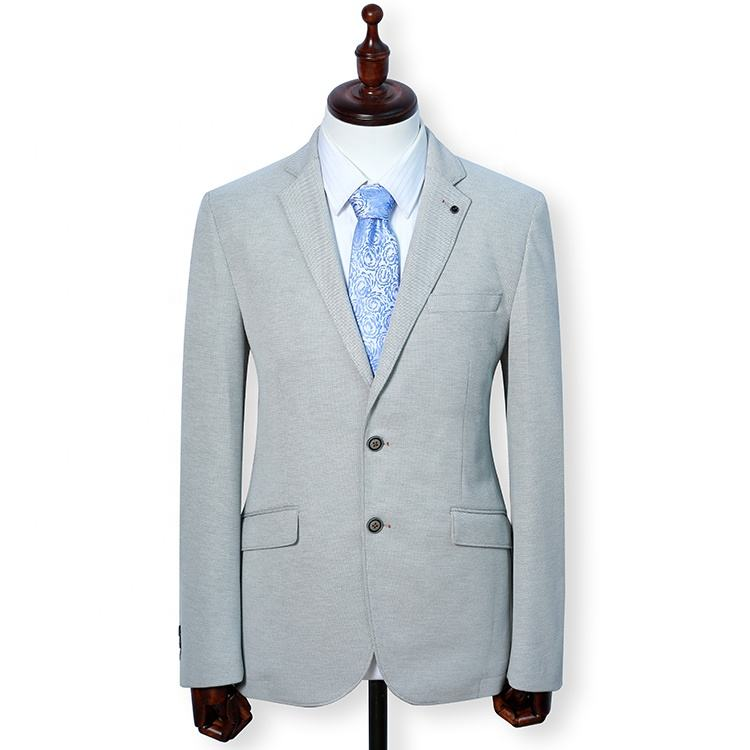 OEM Service men latest design suit blazer ivory knitted fabric casual style long sleeve blazer