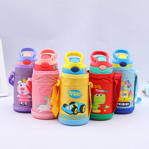 350ml Baby bottles 304 stainless steel tumbler for kids with handle and straw colorful children mug feeding bottles