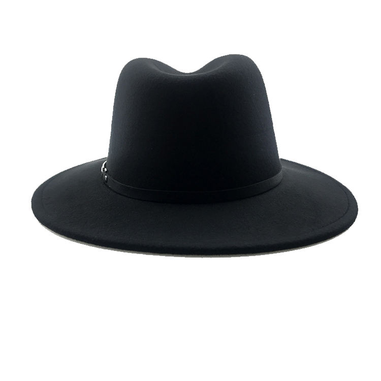 High Quality Fashion Black Customized Wool Felt Fedora Hats for Men