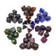 Wholesale galaxy starry double-color dice with golden glitter DND polyhedral dice set