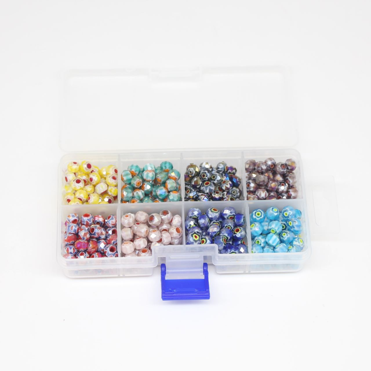 Faceted millefiori glass beads 8 colours with plastic box for jewelry making