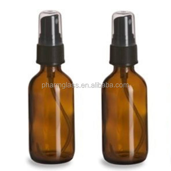 50ml Amber Brown Aromatherapy Glass Bottles, Black Sprayer Atomiser Spray
