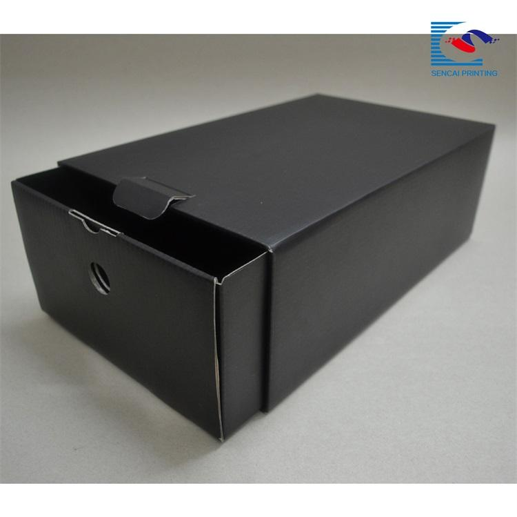 Fancy custom printing shoes black drawer cardboard paper box