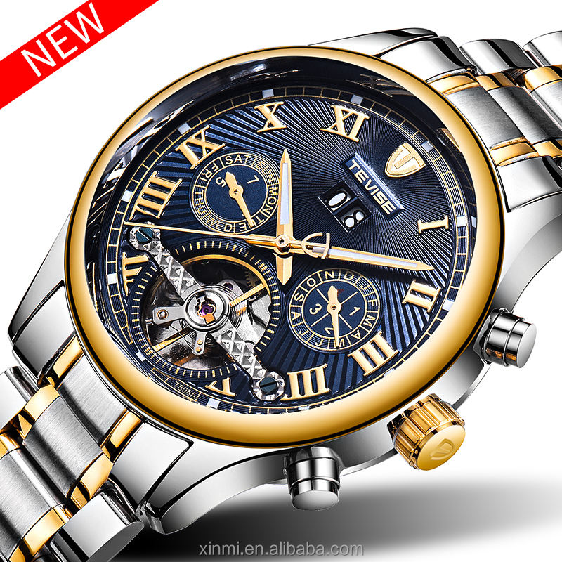 New Model Fashion Automatic tourbillion watches men luxury blue dial mens wrist watch