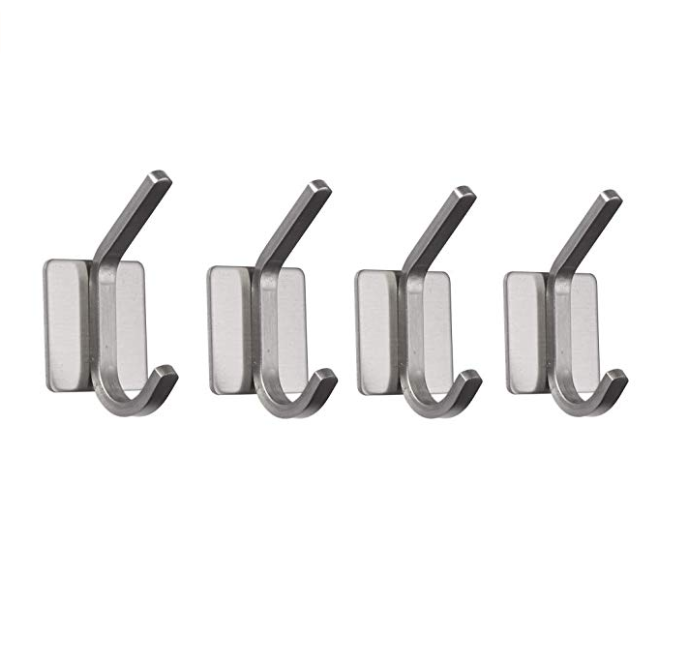 Towel Hooks Stainless Steel 3M Self Adhesive Wall Mount Coat robe hook Towel/Clothes Hanger for Bathroom Kitchen - 4 Pack