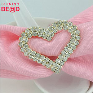 Top sell heart shape gold crystal napkin rings for wedding table holder