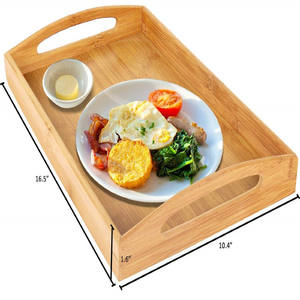 Factory Supply Bamboo Wood Serving Tray Handles