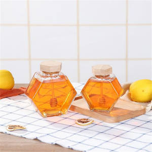 china manufacturers wholesale import wood lids 500 ml hexagonal honey glass containers jars with lids