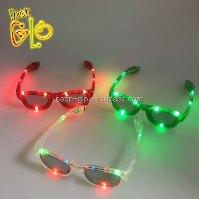 New Design Flashing LED Plastic Sunglasses for Night Party