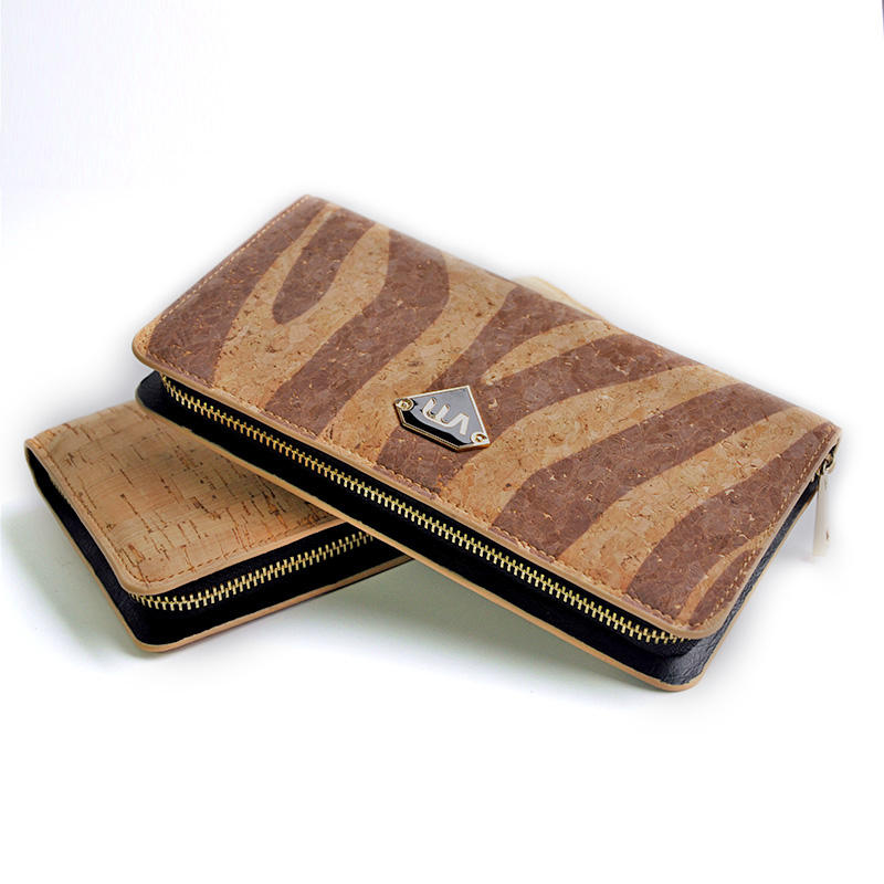 Newest design high quality travel business men's cork wallet cork leather