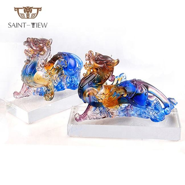 Crystal Feng Shui Wholesaler Couple Dragon Pixiu Figurines Money Drawing Liuli Craft