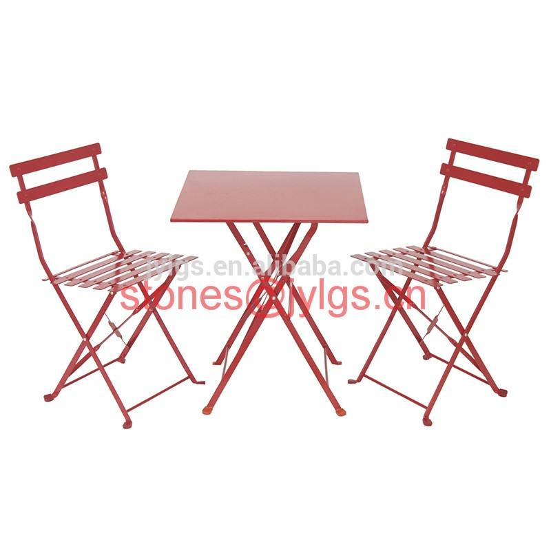 Metal Garden Balcony Furniture Steel Folding Bistro Table and Chair Set